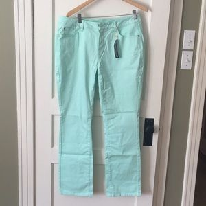 Denim - NWT - mint green, skinny jeans, button front